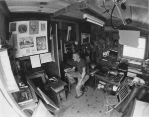 N.V. Ulery in his Red Shed Studio
